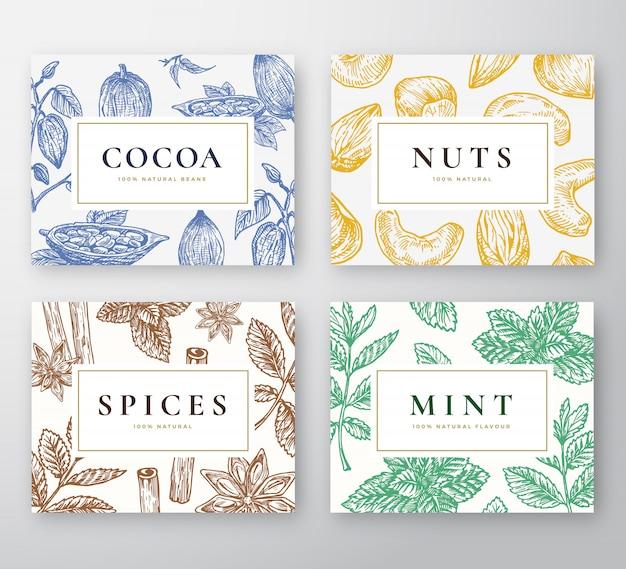 Hand gezeichnete kakaobohnen, minze, nüsse und gewürze karten set. abstrakte skizzenhintergrund-sammlung mit klassischer retro-typografie. handgezeichneter kakao, nüsse, minzzweige und gewürze.