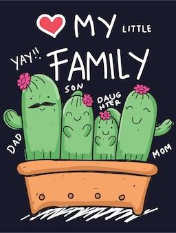 Hand gezeichnete kaktusfamilie für t-shirt