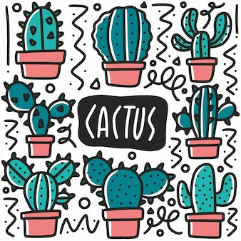 Hand gezeichnete kaktuspflanze gekritzel gesetzt mit ikonen und gestaltungselementen
