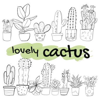 Hand gezeichnete kaktusvektorillustration