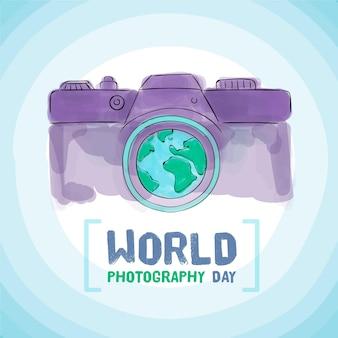 Hand gezeichnete kamera des weltfotografietages