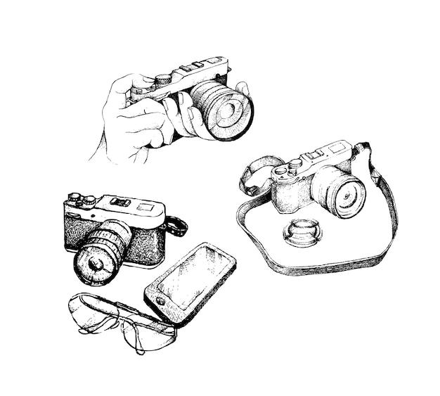 Hand gezeichnete kamera und gläser mit smartphone