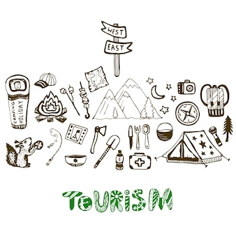 Hand gezeichnete kampierende feiertags-ikonensammlung. sommerferienhintergrund. tourismus eingestellt