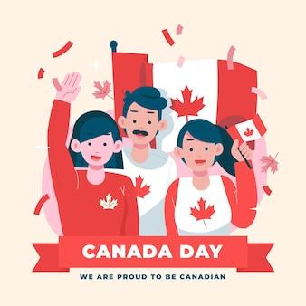 Hand gezeichnete kanada-tagesillustration