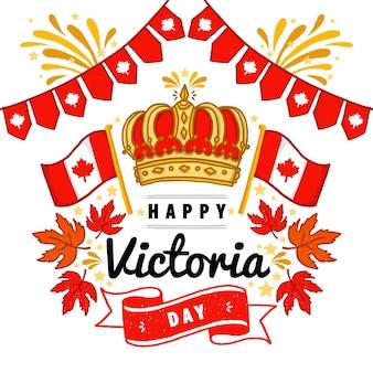 Hand gezeichnete kanadische victoria-tagesillustration