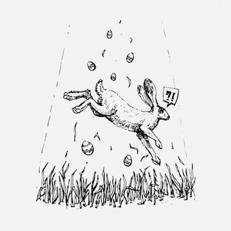 Hand gezeichnete kaninchen- und ostereier, die über gras in der weinleseartillustration schweben