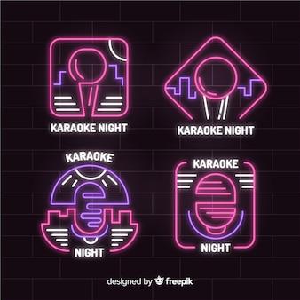 Hand gezeichnete karaoke-neonlicht-sammlung