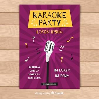 Hand gezeichnete karaoke-plakat-vorlage