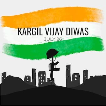 Hand gezeichnete kargil vijay diwas illustration Kostenlosen Vektoren