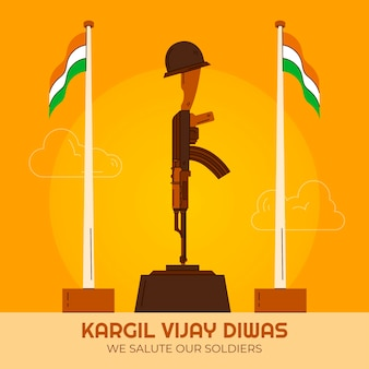 Hand gezeichnete kargil vijay diwas illustration