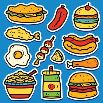 Hand gezeichnete karikatur food doodle aufkleber design