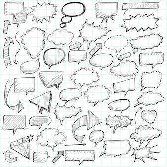 Hand gezeichnete karikatur gekritzel sprachblasen skizze design