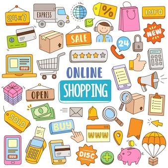 Hand gezeichnete karikatur gesetzt in gekritzelfarbe - online-shopping