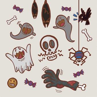 Hand gezeichnete karikatur halloween-sammlung