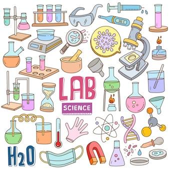 Hand gezeichnete karikatur in gekritzelfarbe gesetzt - labor & wissenschaft