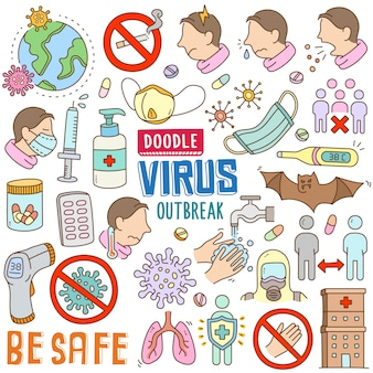 Hand gezeichnete karikatur in gekritzelfarbe gesetzt - virus-ausbruch