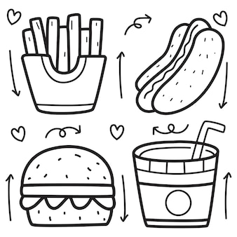 Hand gezeichnete karikatur-lebensmittel-gekritzelillustration