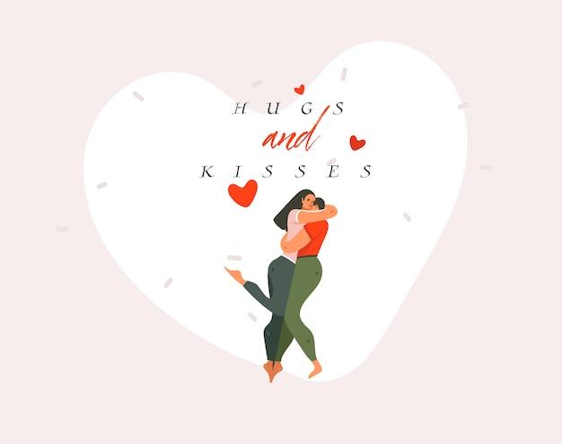 Hand gezeichnete karikatur moderne grafik happy valentines konzept illustration mit umarmenden paar und umarmungen und küsse text isoliert