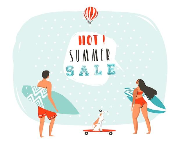 Hand gezeichnete karikatur sommerzeit banner mit surfer menschen illustrationen und moderne typografie zitat hot summer sale isoliert.