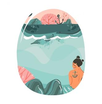 Hand gezeichnete karikatur sommerzeit illustrationen kunst vorlage hintergrund mit ozean strand landschaft, großen wal, sonnenuntergang szene und schönheit meerjungfrau mädchen auf weißem hintergrund