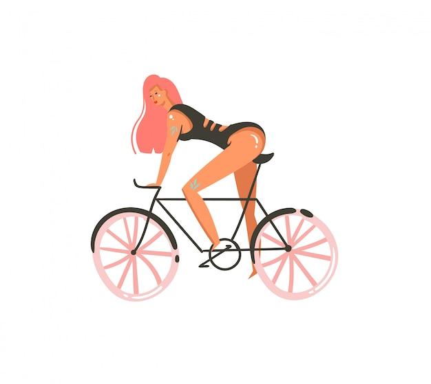 Hand gezeichnete karikatur-sommerzeitillustrationen drucken mit mädchen fahren auf fahrrad auf weißem hintergrund