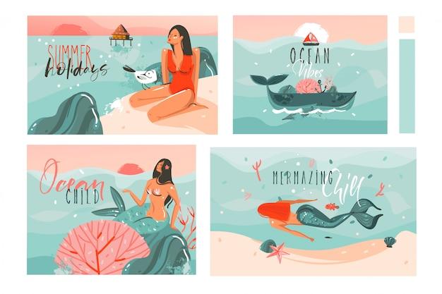 Hand gezeichnete karikatur-sommerzeitillustrationskarten-schablonensammlung, die mit strandmenschen, meerjungfrau und wal, sonnenuntergang und tropischen vögeln auf weißem hintergrund gesetzt wird