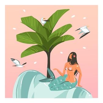 Hand gezeichnete karikatur-sommerzeitillustrationsschablonenkarten mit meerjungfrauenmädchen, palme, sonnenuntergang, see-guul-vögeln auf strandszene auf rosa pastellhintergrund