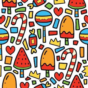 Hand gezeichnete karikatur süßigkeiten und eis kritzeleien muster design