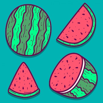 Hand gezeichnete karikatur-wassermelonen-gekritzelentwurf