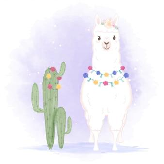 Hand gezeichnete karikaturillustration des lama und des kaktus