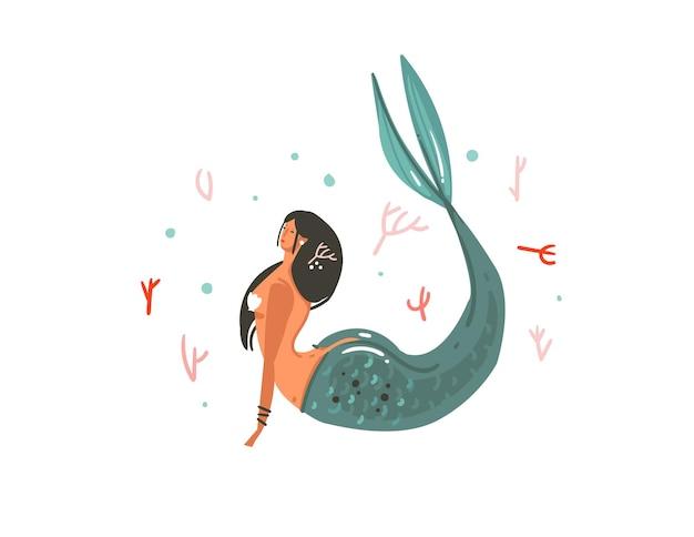 Hand gezeichnete karikaturillustration mit korallenriffen, fisch- und meerjungfrauenmädchencharakter