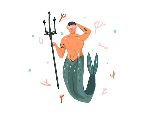 Hand gezeichnete karikaturillustration mit korallenriffen und schwimmendem meerjungfrauenmanncharakter