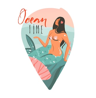 Hand gezeichnete karikaturillustration mit ozean, schönheits-meerjungfrau-mädchen und ozeanzeittext