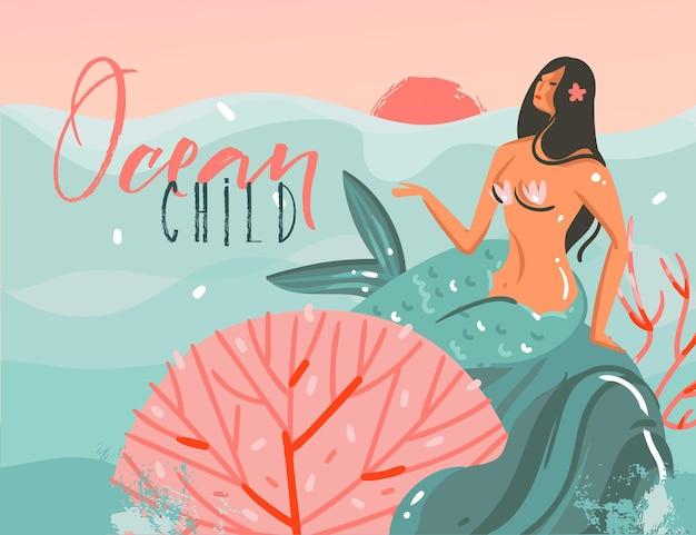 Hand gezeichnete karikaturillustration mit ozean sonnenuntergangsszene, schönheit meerjungfrau mädchen und ozean kind typografie zitat isoliert