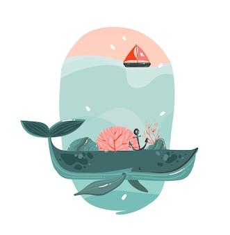 Hand gezeichnete karikaturillustration mit schönheitsgroßwal, segel