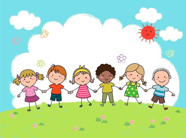 Hand gezeichnete karikaturkinder, die hände zusammen im freien halten