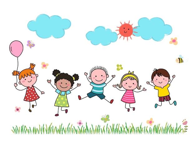 Hand gezeichnete karikaturkinder, die zusammen im freien springen