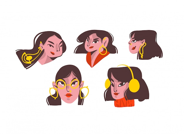 Hand gezeichnete karikaturmädchenfiguren