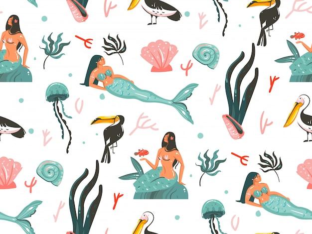Hand gezeichnete karikatursommerzeit-unterwasserillustrationen nahtloses muster mit quallen, fischen und schönheitsböhmischen meerjungfrauenmädchencharakteren auf weißem hintergrund