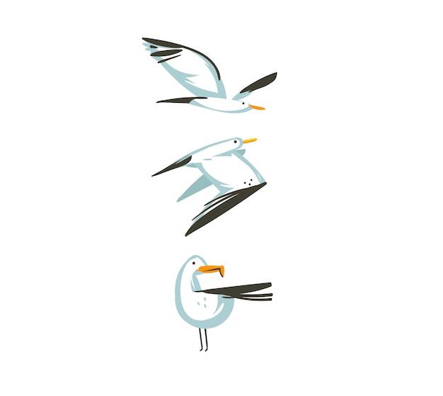 Hand gezeichnete karikatursommerzeitgrafikdekorationsillustrationssammlungssetkunst mit fliegenden möwenvögeln isoliert