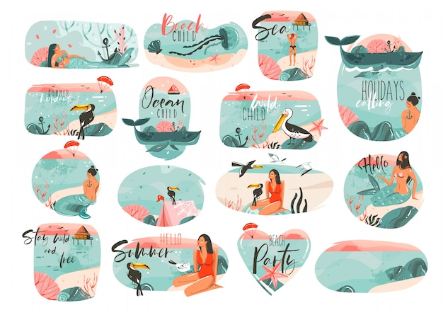 Hand gezeichnete karikatursommerzeitillustrationen unterzeichnen große sammlung, die mit mädchen, meerjungfrau, campingzelt, tukanvögeln und typografiezitaten auf weißem hintergrund gesetzt wird