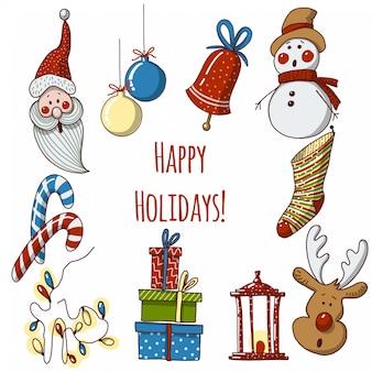 Hand gezeichnete karikaturweihnachtselemente und -dekorationen