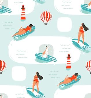 Hand gezeichnete karikaturzeichnung sommerzeitspaß nahtlose musterillustration mit reitenden hunden und mädchen auf surfbrett auf blauem hintergrund.