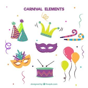 Hand gezeichnete karnevalselementansammlung