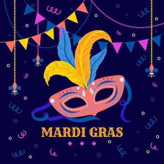 Hand gezeichnete karnevalsmaske und girlande