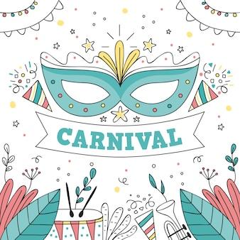 Hand gezeichnete karnevalsmaske
