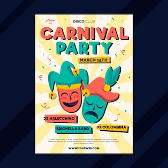 Hand gezeichnete karnevalspartyplakatschablone