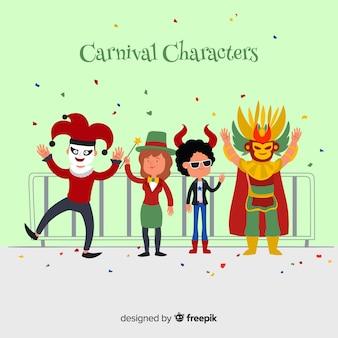 Hand gezeichnete karnevalzeichen, die kostüme tragen