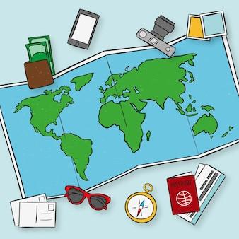 Hand gezeichnete karte mit reiseelementen