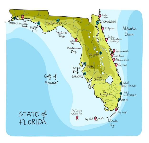 Hand gezeichnete karte von florida mit hauptstädten.